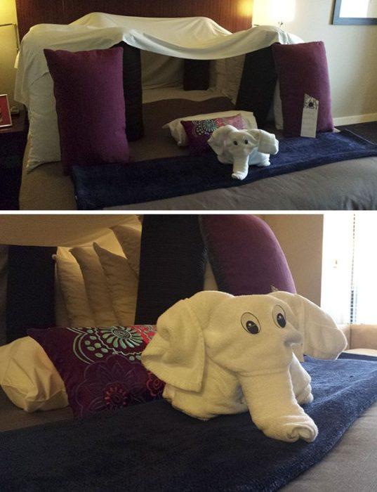 Peticiones absurdas hoteles - un fuerte de almohadas y una toalla con forma de elefante
