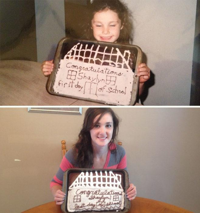 Niña con su pastel por su primer día de clases, adolescente con su pastel por su último día de clases
