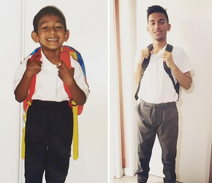 Niño primer día de clases, foto después de su último día de clases