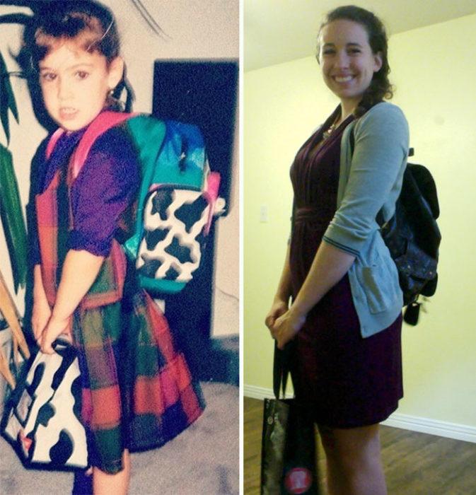 Primer día de clases niña va a kinder con su mochila, y 13 años después va con su mochila a su último día de clases