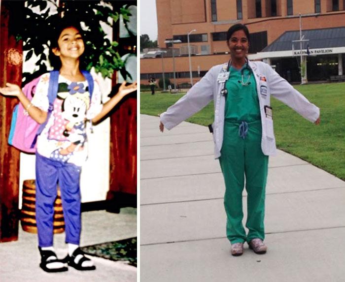 Primer día de clases niña, último día de clases escuela de medicina