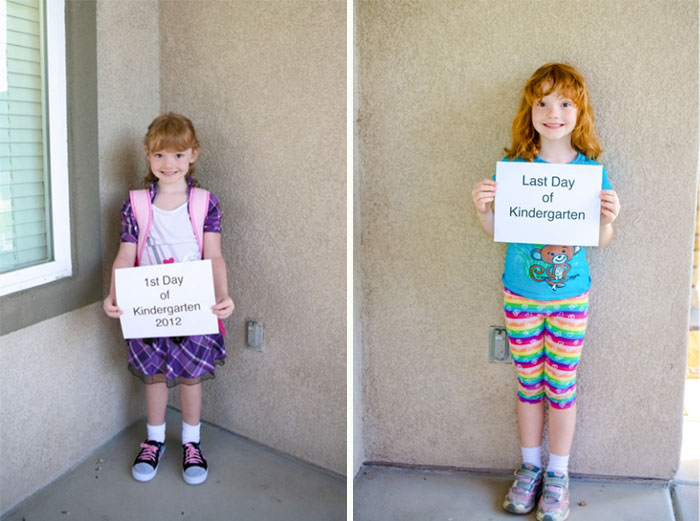 Niña primer día de kinder y último día de kinder
