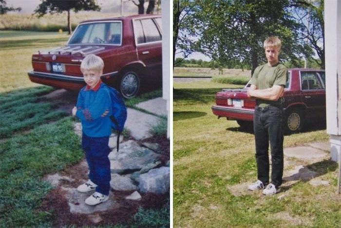 Niño frente a carro primer día de clases y último día