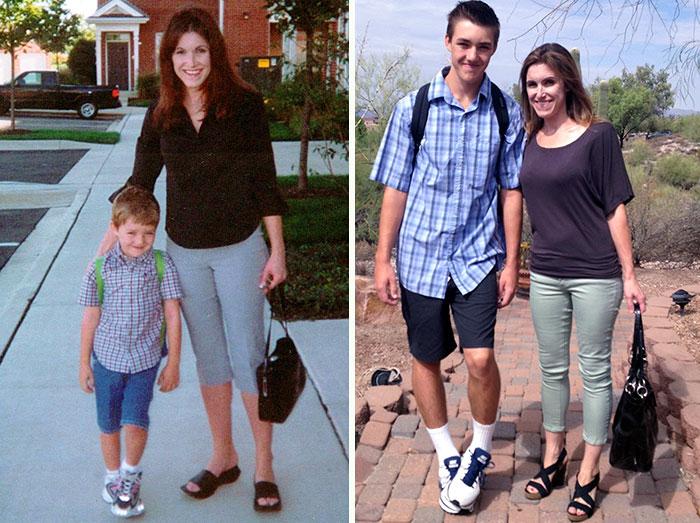 Mama e hijo primer día de clases y ultimo día de prepa