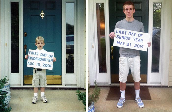 Niño sosteniendoun letrero su primer día de clases y adolescente en su último día de clases