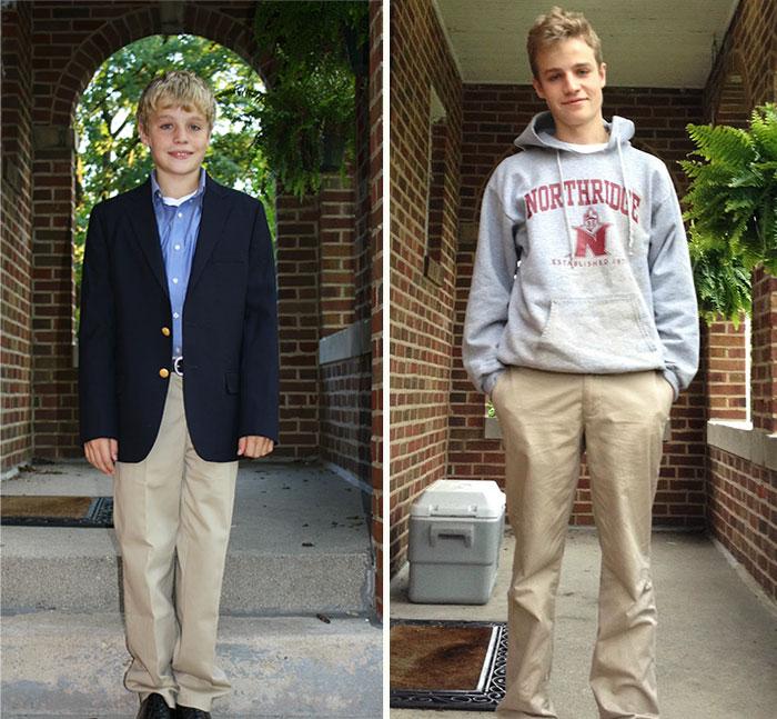Primer día de clases en secundaria, último día de clases en prepa