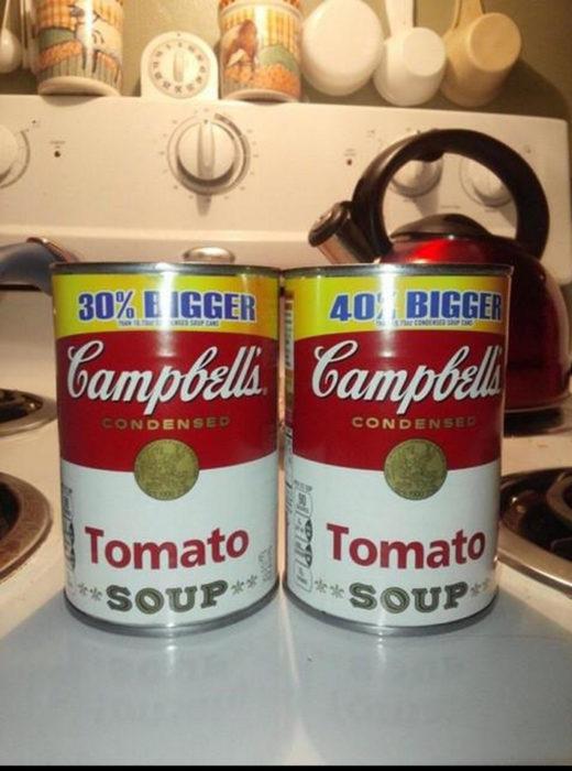 Lata de Campbells 30% más grande y 40% más grande del mismo tamaño