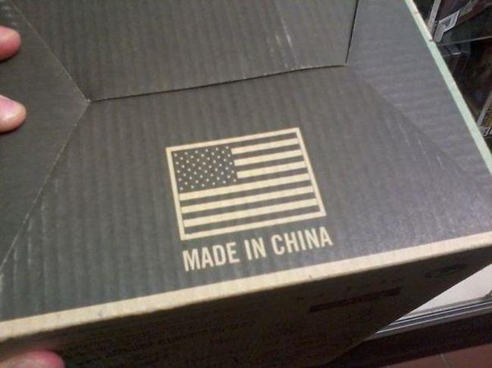 Made in China con la bandera de EEUU