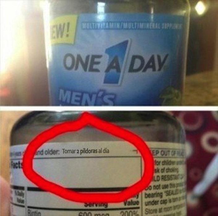 Vitaminas una por día,tienes que tomar 2