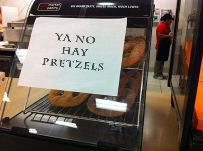 Negocio dice que ya no hay pretzels y está lleno de pretzels