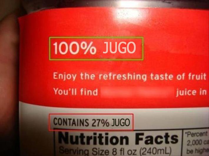 Empaque de jugo que dice que contiene solo 27% jugo