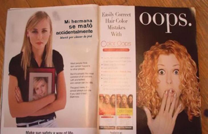 Artículo de revista de mujer que murió por cáncer de piel y al lado una mujer con expresion de sorpresa y el texto OOPS