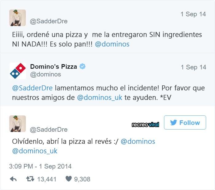 Quejas de clientes - Pizza sin ingredientes