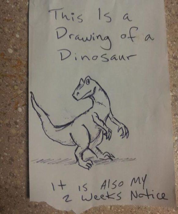 Renuncia con un dibujo de dinosaurio
