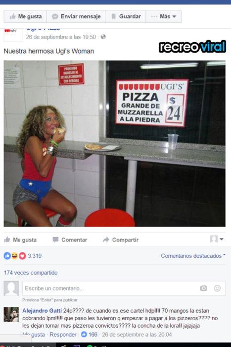 mujer maravilla comiendo pizza ugi's