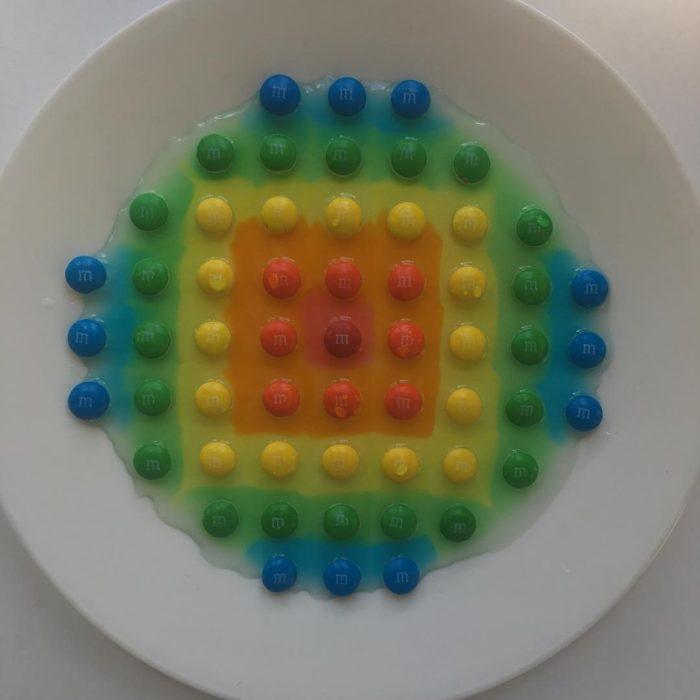 plato con lunetas formando una imagen geométrica