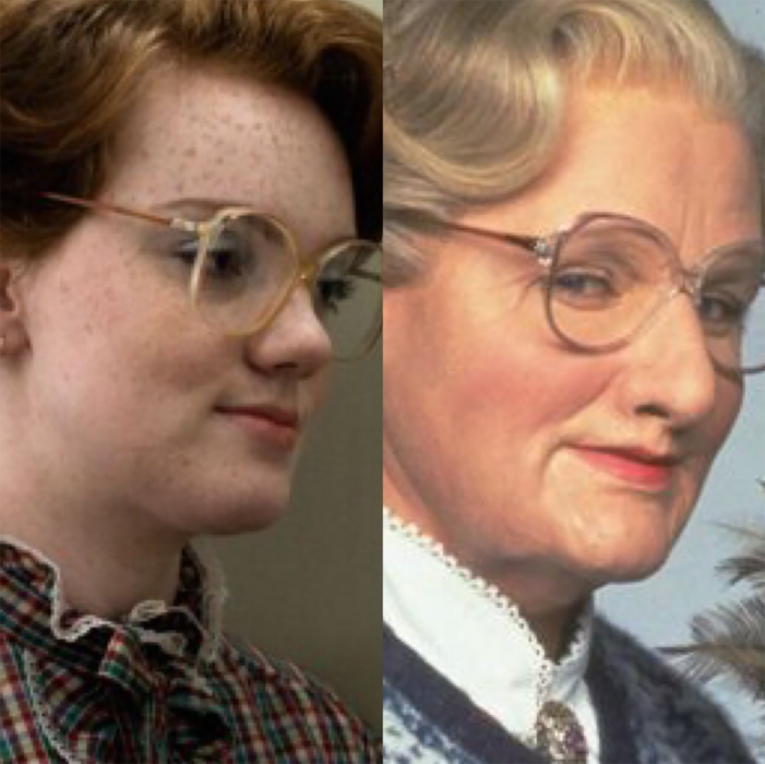 barb stranger things y mrs. doubtfire