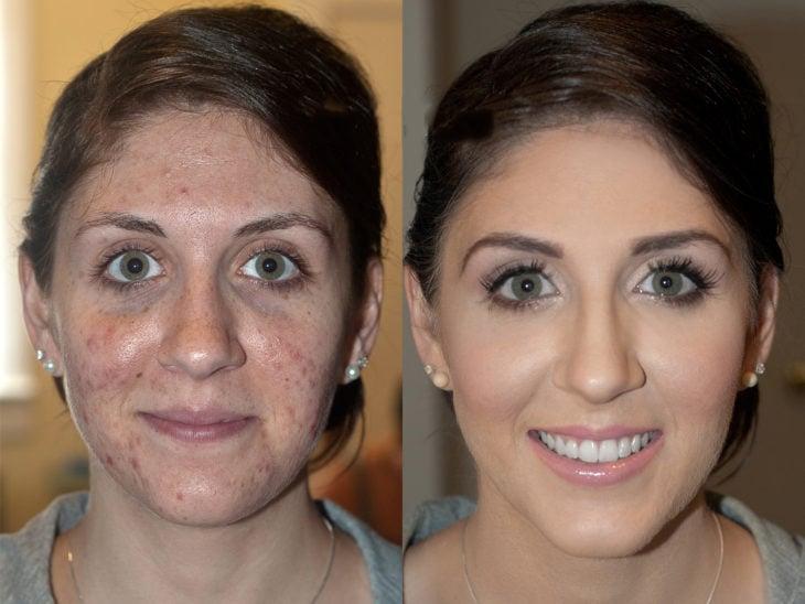 muchacha de ojos verdes transformación de maquillaje