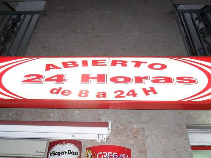 abierto las 24 horas letrero