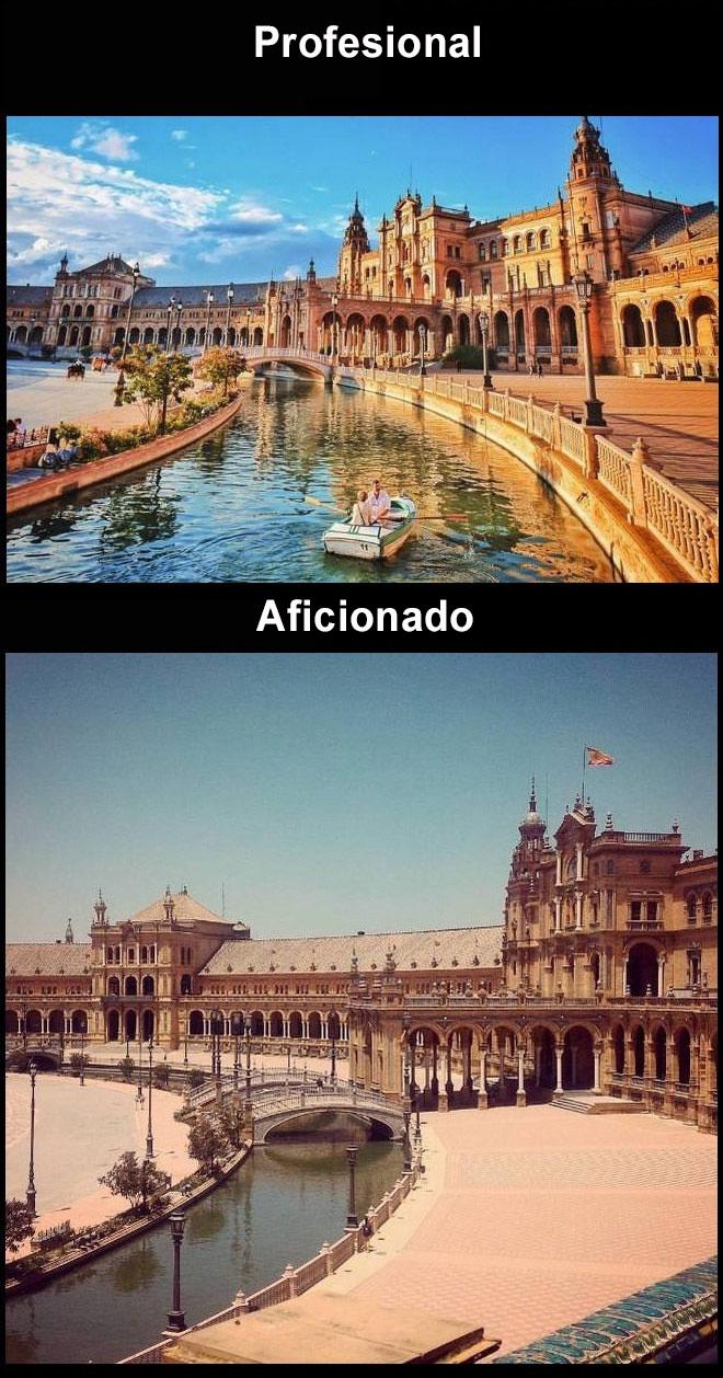 Foto profesional vs. amateur plaza de sevilla