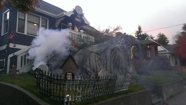 decoración de exterior halloween nightmare before christmas