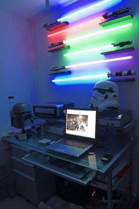 habitación con láser de star wars