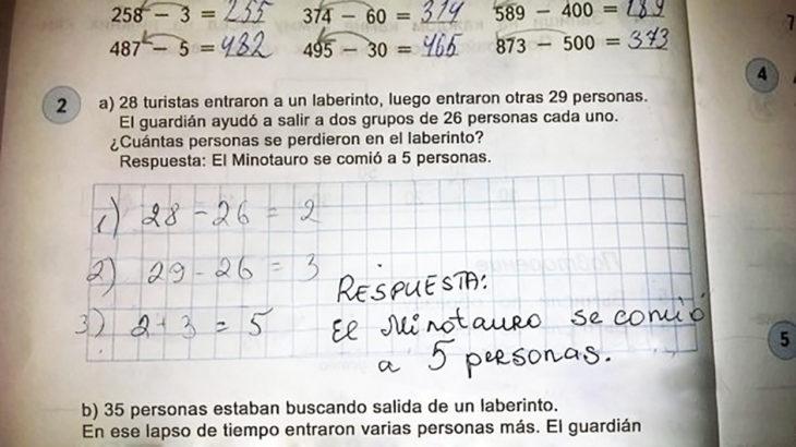 respuesta hilarante de un niño a pregunta matemática