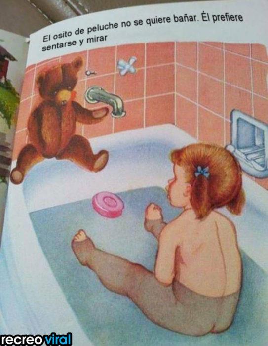 ilustración de una niña en la bañera y un oso de peluche