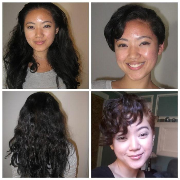 chica asiática antes y después de cortarse el pelo