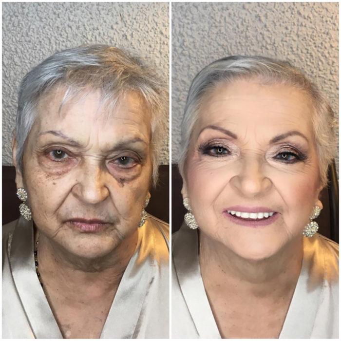 anciana se hace cambio de imagen