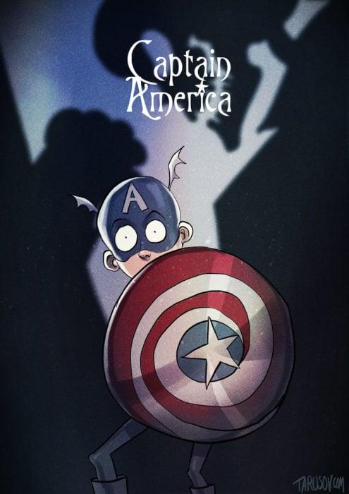 Capitán américa dibujado estilo tim burton