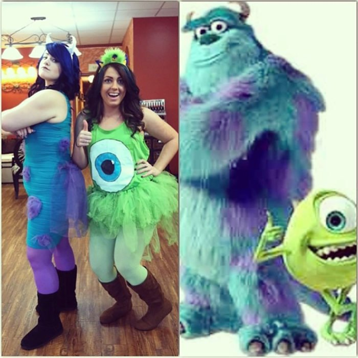 amigas disfrazadas de Mike y Sullivan de Monsters Inc.