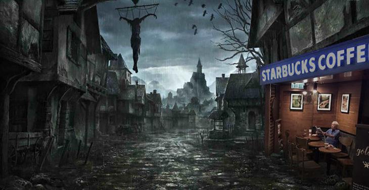 señor en starbucks inundado editado en el apocalipsis