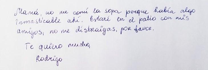 carta de niño a su mamá
