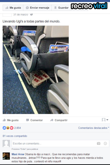 Caja de pizza ugi's en avión
