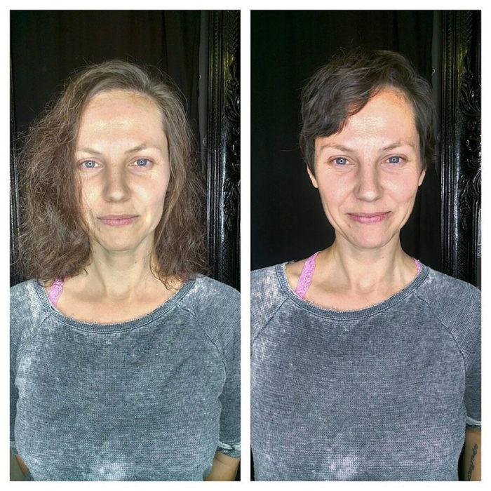 señora en sueter gris antes y después de cortarse el pelo
