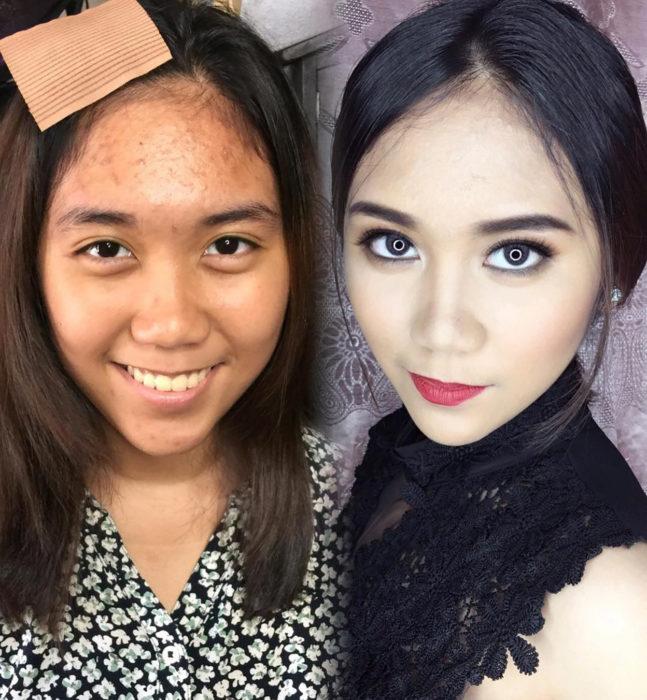muchacha de continente asiático antes y después de maquilarse