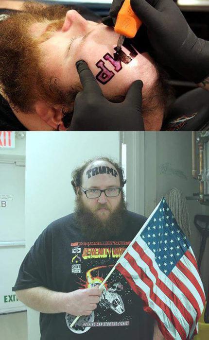 hombre con el nombre de Trump tatuado en la frente