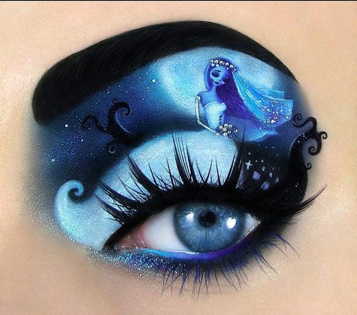 maquillaje de ojos de El Cadáver de la Novia