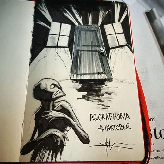 agorafobia ilustración