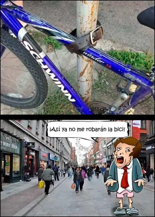bicicleta asegurada con un cinturón