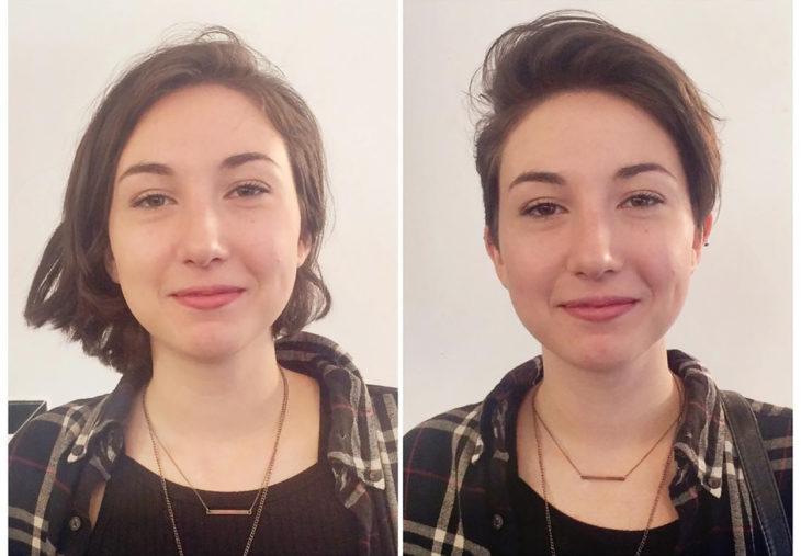mujer com camisa a cuadros antes y después de cortarse el pelo