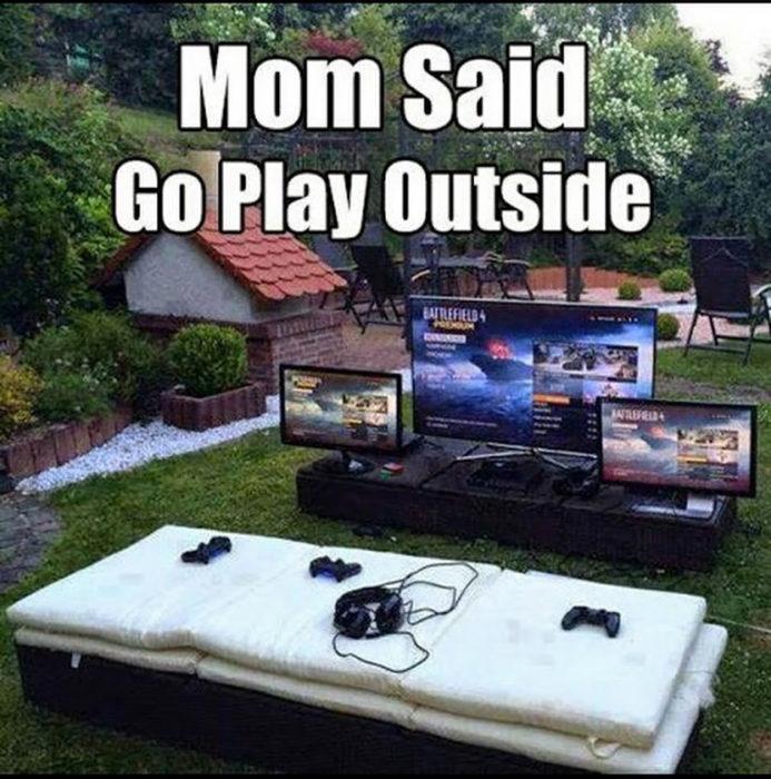 set de videojuegos en un patio