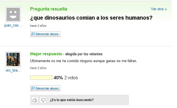 yahoo pregunta qué dinosaurios comían los seres humanos