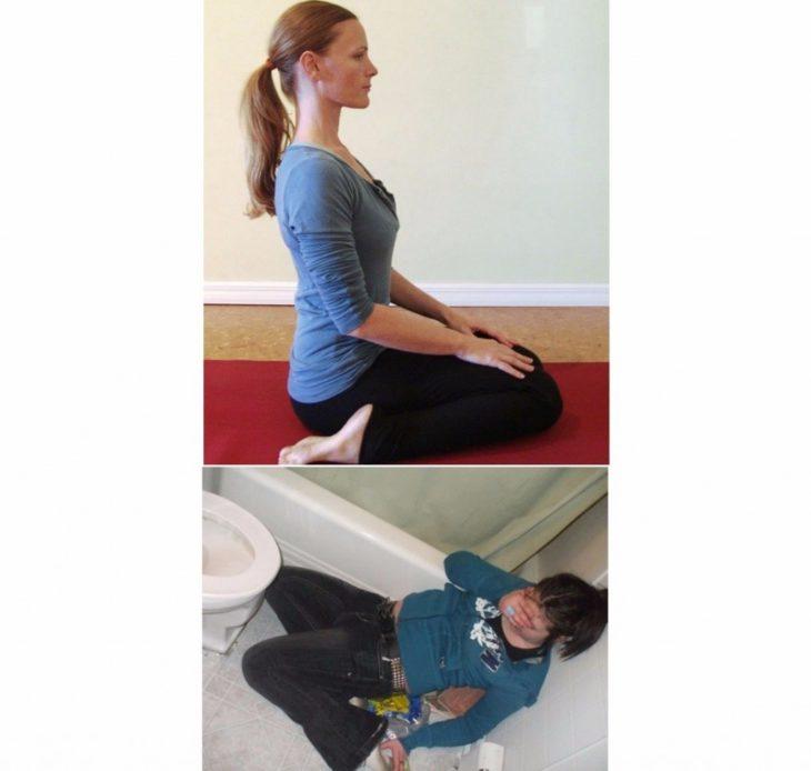 Poses yoga borrachos - Mujer después de vomitar