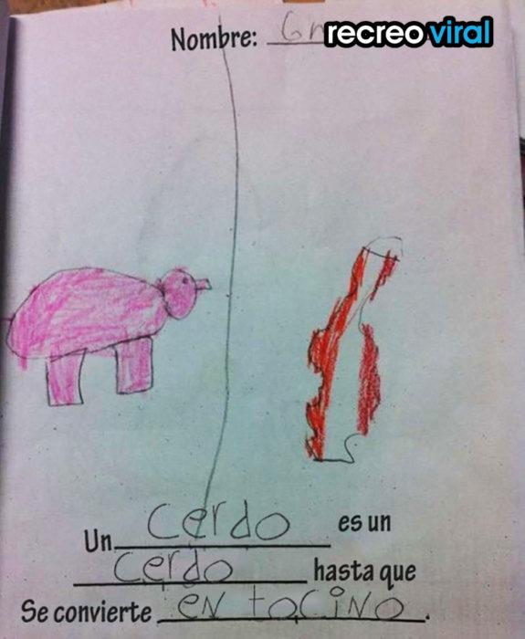 imagen de cerdo y tocino dibujada por un niño