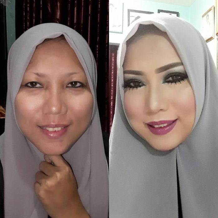 mujer musulmana antes y después de maquillarse