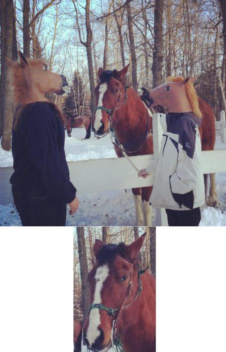 hombres con máscaras de caballo al lado de un caballo