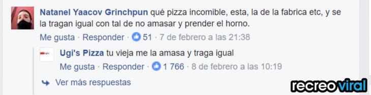 comentario de facebook de pizza ugi's