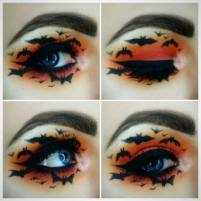 maquillaje de ojos de murciélagos